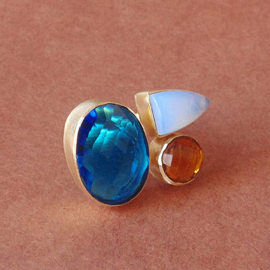 Wonderful Synthetic Blue Topaz Opalite And Citrine Gemstone Cocktail Ring - by Bhagat Jewels