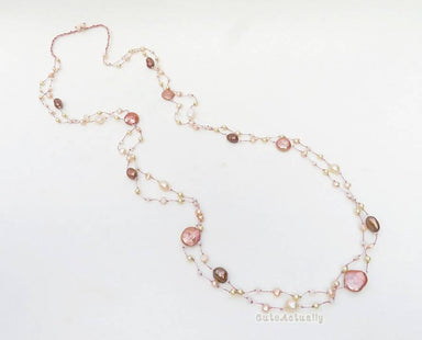 Necklaces Pink peach freshwater pearl necklace on silk thread pink wedding jewelry long orange brown
