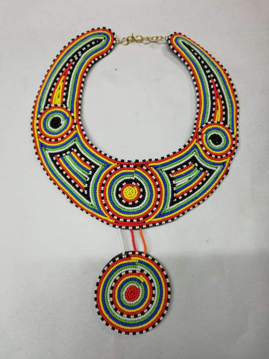 Necklaces African beaded collar necklace ceremonial Her christmas gift Masai wedding jewelry - Title by Naruki Crafts