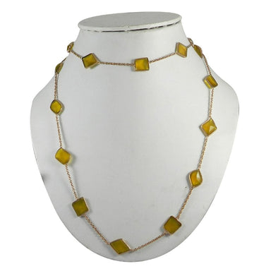 Necklaces Yellow Chalcedony Gold Plated 36 inch Long Chain Necklace Handmade Jewelry