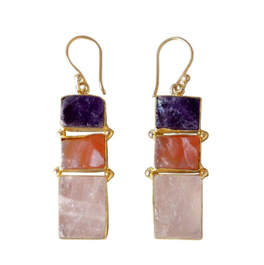 Yellow Gold Plated Rose Quartz Amethyst And Carnelian Gemstone Dangle Earrings