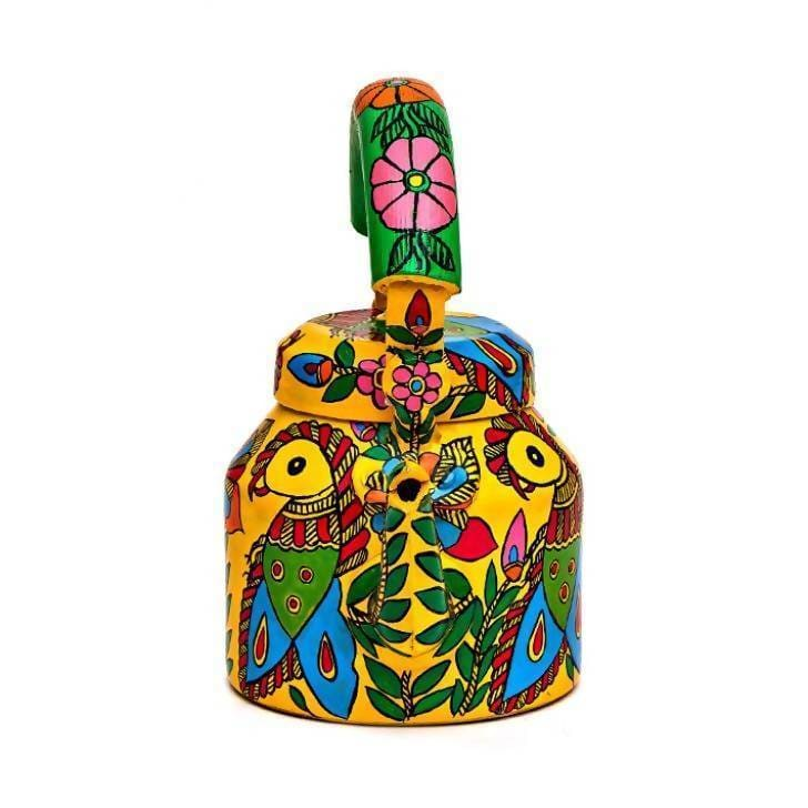 Painted Teapots Yellow Hand Parrot Design Tea Pot in Aluminium - by Mrinalika Jain
