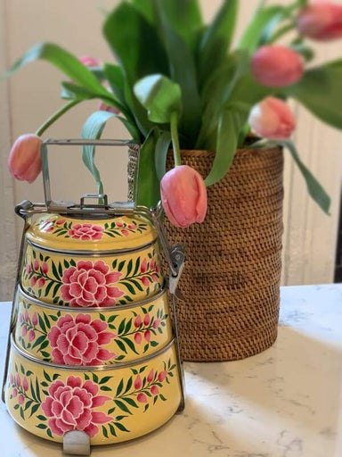 kitchen & dining Hand Painted 3 Tier Steel Lunch Box- A dabba or Indian-style tiffin carrier Bombay Dabba - by Mrinalika Jain