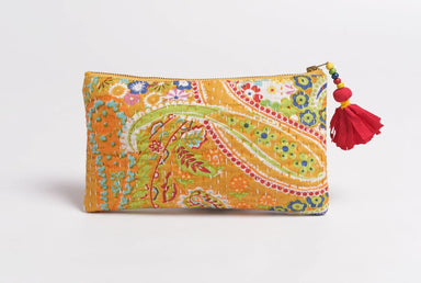 Pouches Yellow pouch zipper purse make up or cosmetic bag utility kantha 5X9 inches - by VLiving