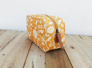 Pouches Yellow toiletry bag floral print laminated block cotton leather trims make up or cosmetic utility pouch. - by VLiving