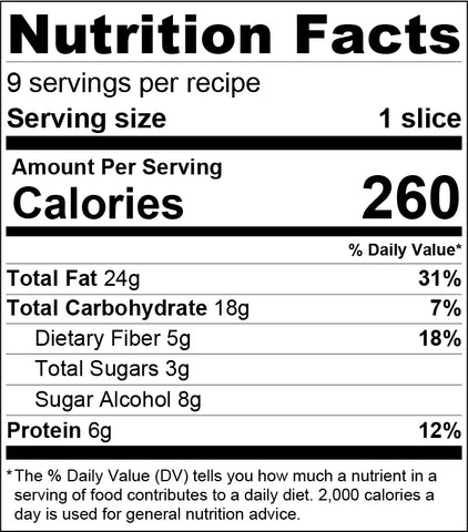 Keto Berry Crumble Bars - Nutrition Facts