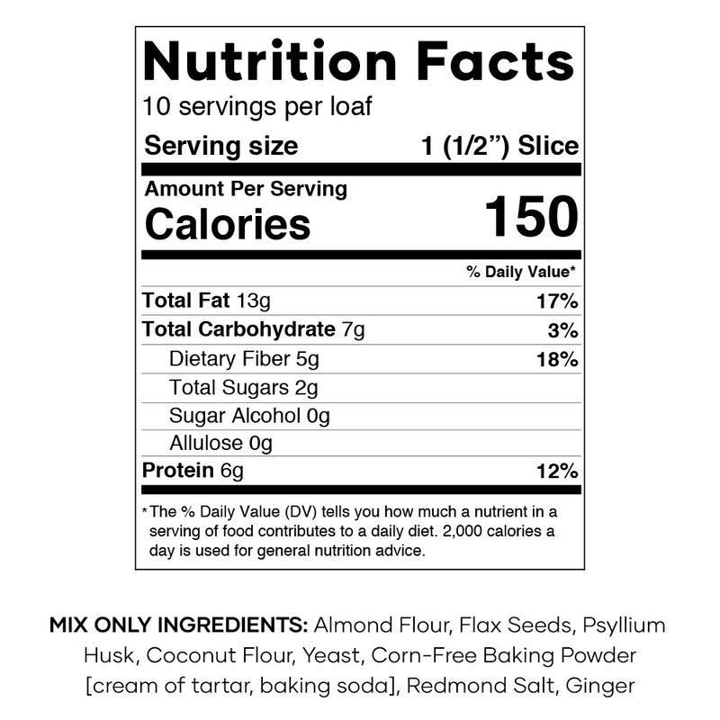 Keto Bread Mix Nutrition Facts