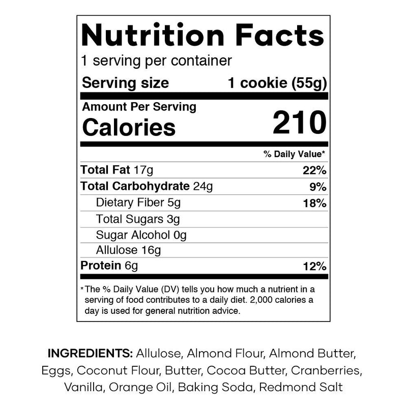 Nutrition Facts for Keto Cookies