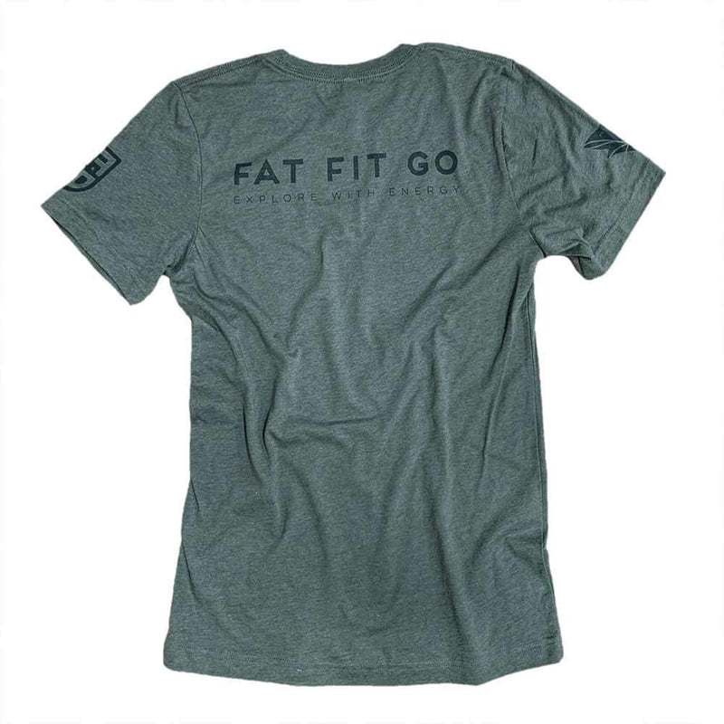 Keto Fox Tee Shirt - Fat Fit Go - Back - Military Green