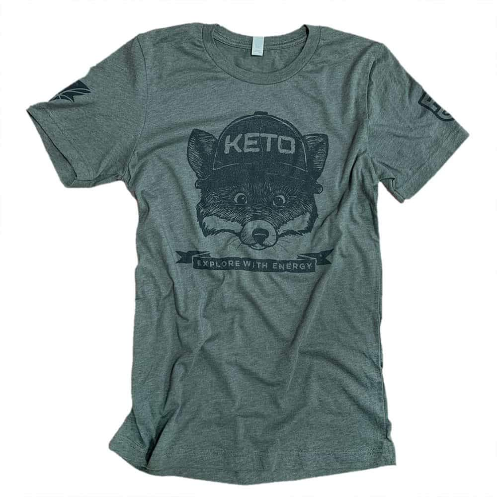 Keto Fox Tee Shirt - Fat Fit Go - Front - Military Green