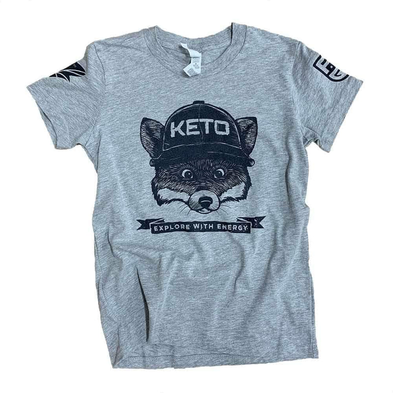 Keto Fox Tee Shirt - Fat Fit Go - Front Youth - Heather Grey