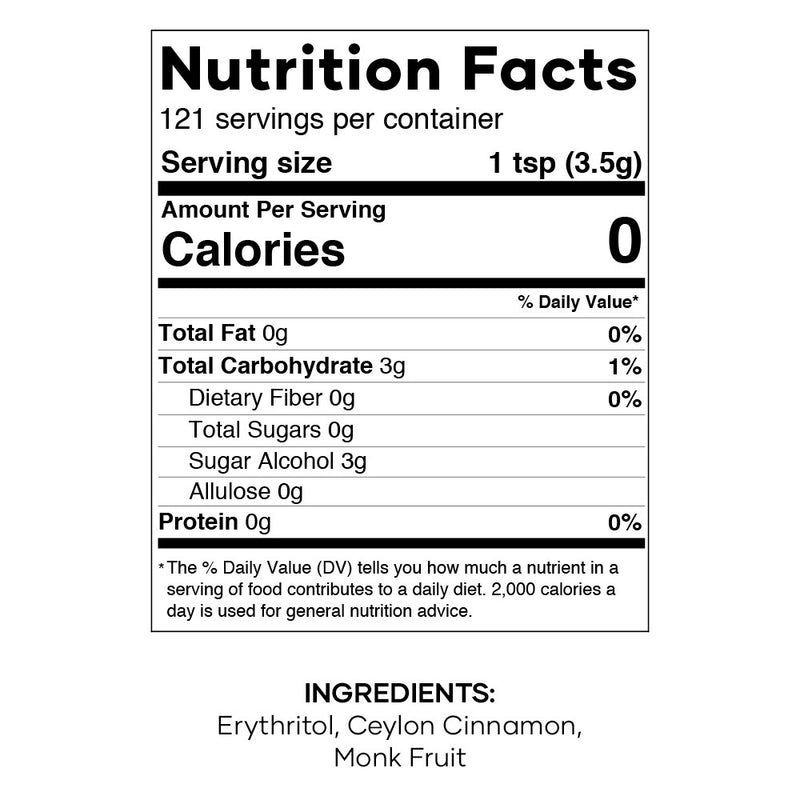 Cinnamon Toast Sprinkle Keto Nutrition Facts
