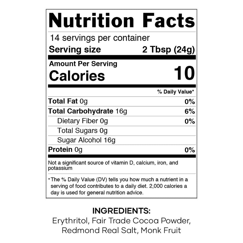 Keto Cocoa Mix Nutrition Facts