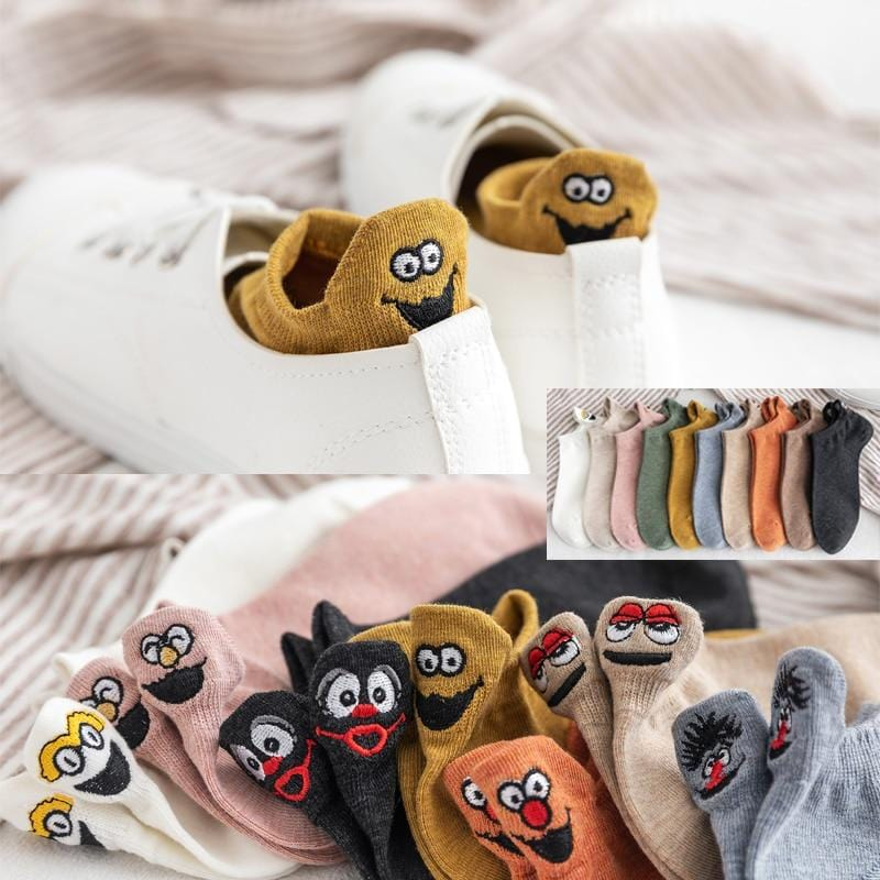 Kawaii Embroidered Expression Women Socks