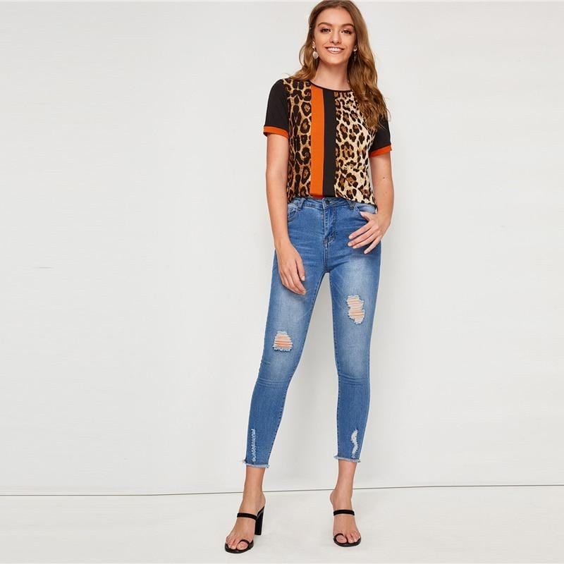 Block Cut-and-Sew Leopard Top - The Emporio Originals