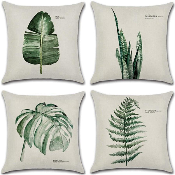Green Leaf Cushion Cover - The Emporio Originals