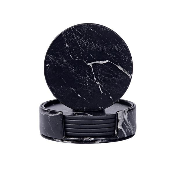 PU Leather Marble Coaster - Set of 6