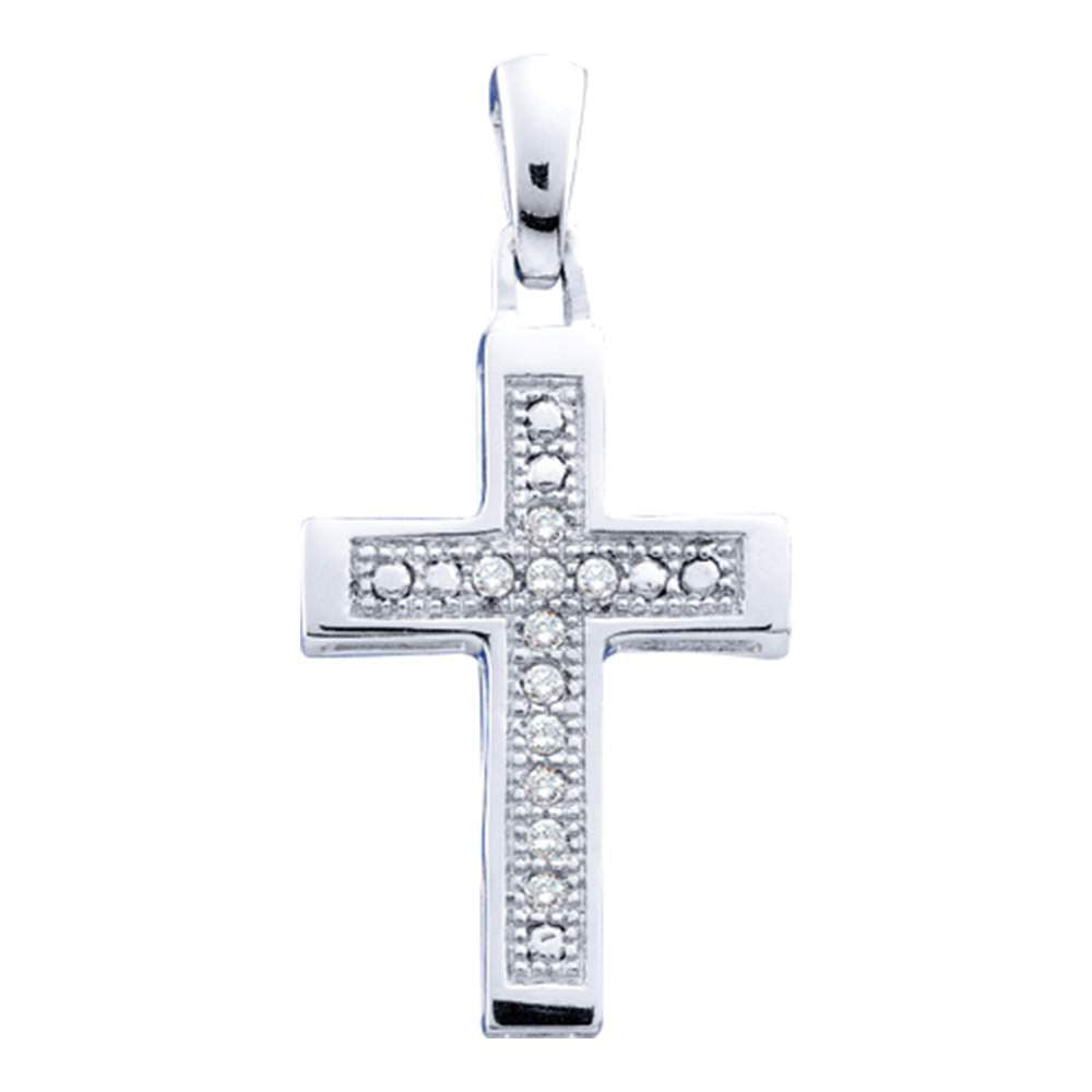 Sterling Silver Womens Round Diamond Simple Roman Cross Pendant 1/20 Cttw