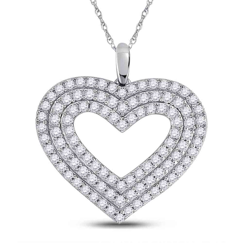 14kt White Gold Womens Round Diamond Heart Pendant 1 Cttw