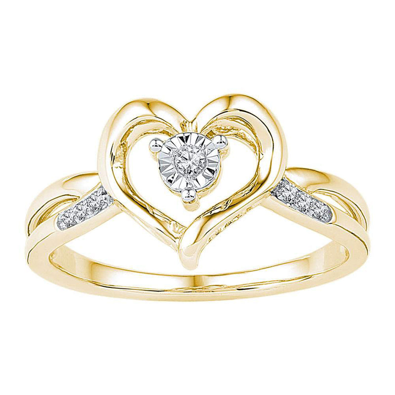 10kt Yellow Gold Womens Round Diamond Solitaire Heart Ring 1/20 Cttw