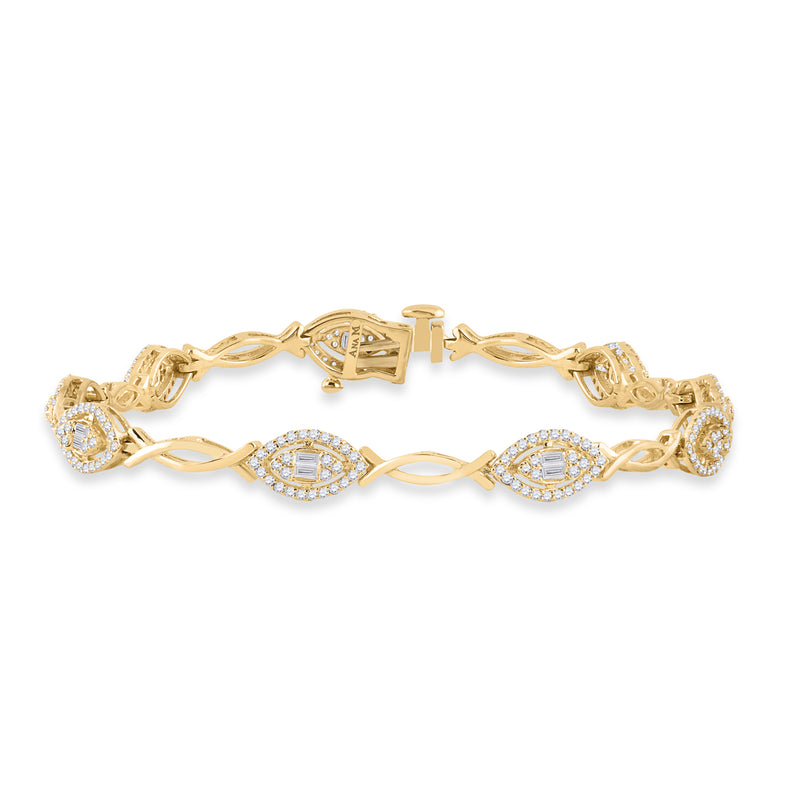 14kt Yellow Gold Womens Baguette Diamond Fashion Bracelet 1 Cttw