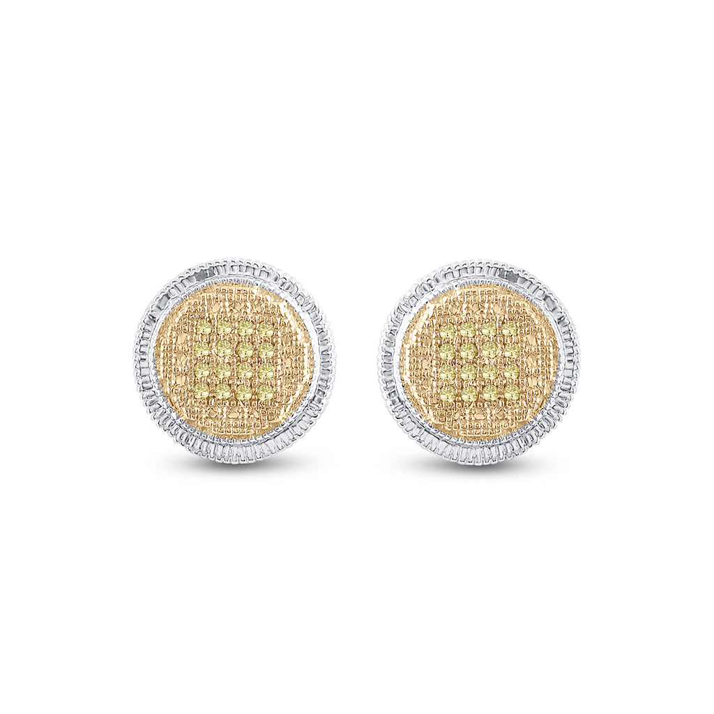 Sterling Silver Mens Round Yellow Color Enhanced Diamond Disk Circle Earrings 1/10 Cttw