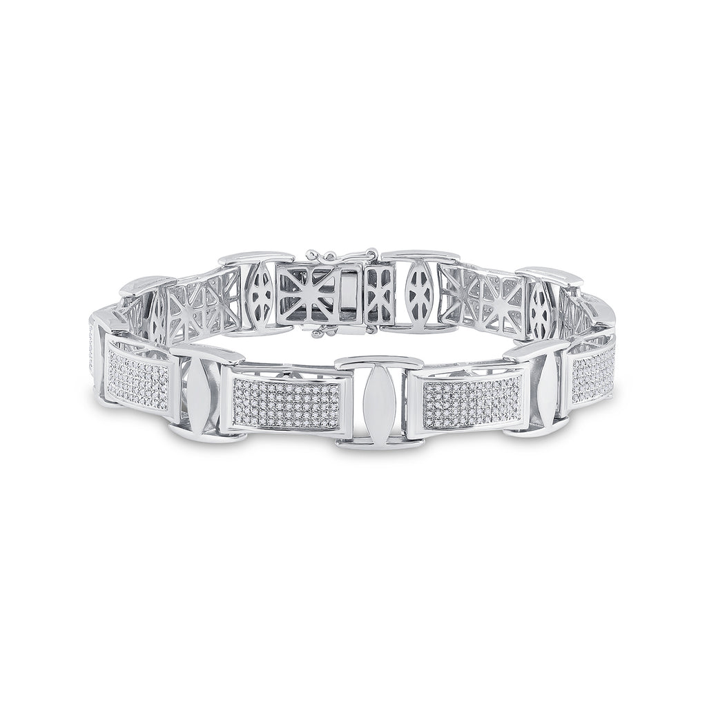 Sterling Silver Mens Round Diamond Rectangle Link Bracelet 1-5/8 Cttw