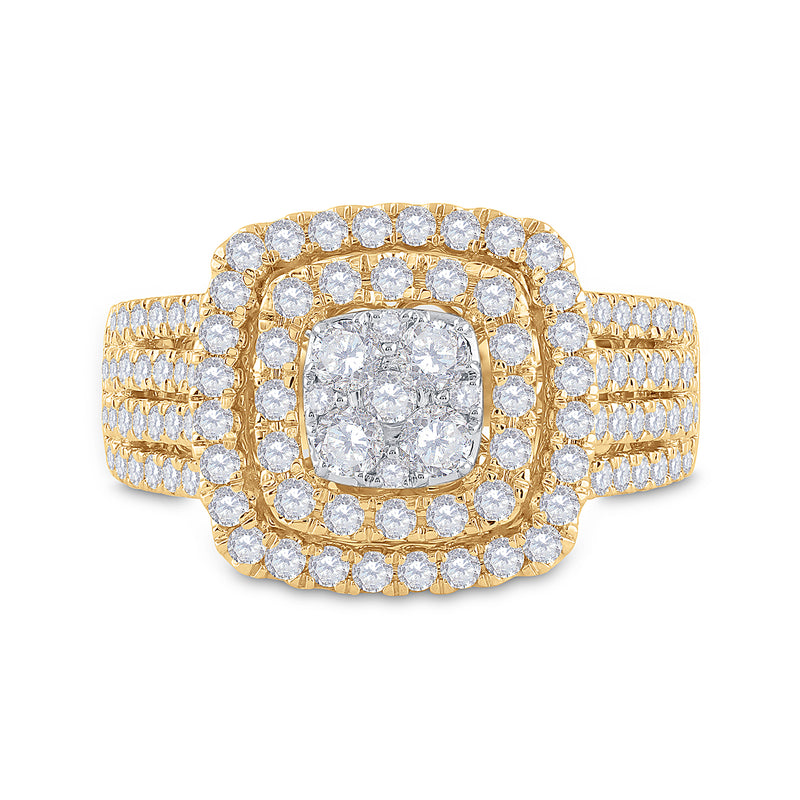14kt Yellow Gold Womens Round Diamond Square Cluster Ring 1-1/2 Cttw