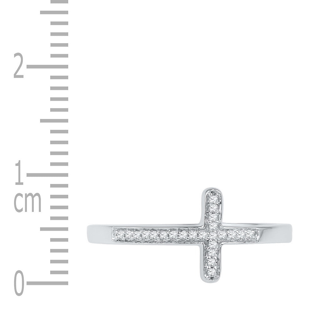 10kt White Gold Womens Round Diamond Cross Religious Band Ring 1/20 Cttw