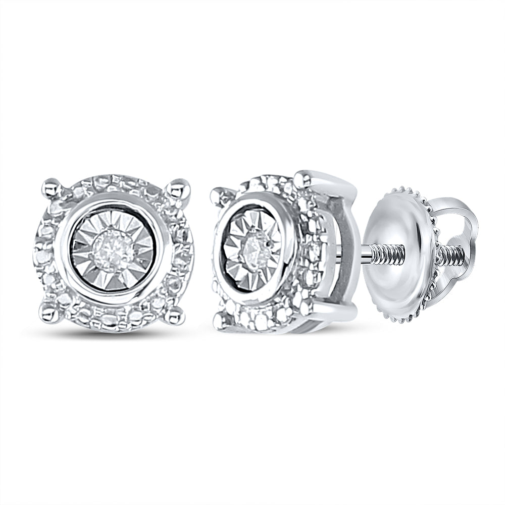 Sterling Silver Womens Round Diamond Stud Earrings 1/20 Cttw