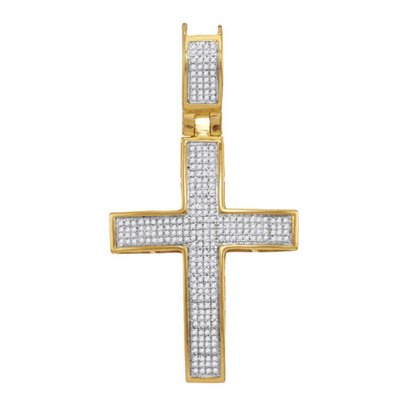 10kt Yellow Gold Mens Round Diamond Cross Charm Pendant 1/2 Cttw