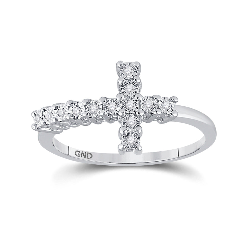Sterling Silver Womens Round Diamond Cross Ring 1/20 Cttw