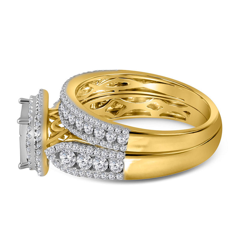 14kt Yellow Gold Princess Diamond Bridal Wedding Ring Band Set 1-1/2 Cttw
