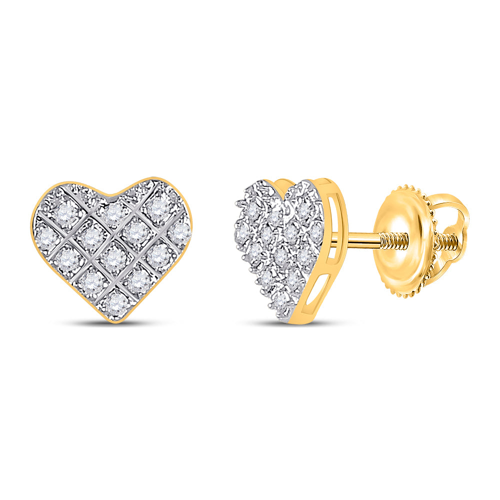10kt Yellow Gold Womens Round Diamond Heart Earrings 1/10 Cttw