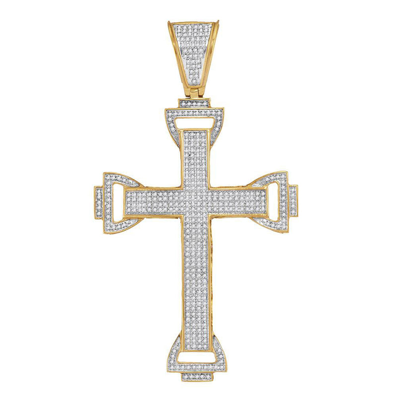 10kt Yellow Gold Mens Round Diamond Capital Cross Charm Pendant 1 Cttw