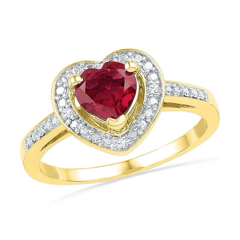 10kt Yellow Gold Womens Round Lab-Created Ruby Heart Ring 1 Cttw