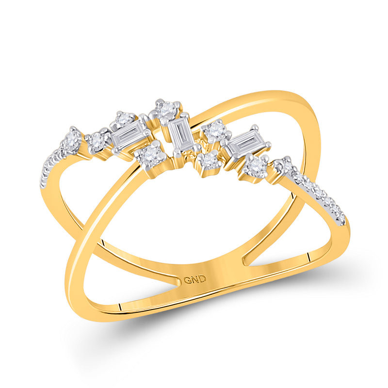 14kt Yellow Gold Womens Baguette Diamond Scattered Open Fashion Ring 1/5 Cttw