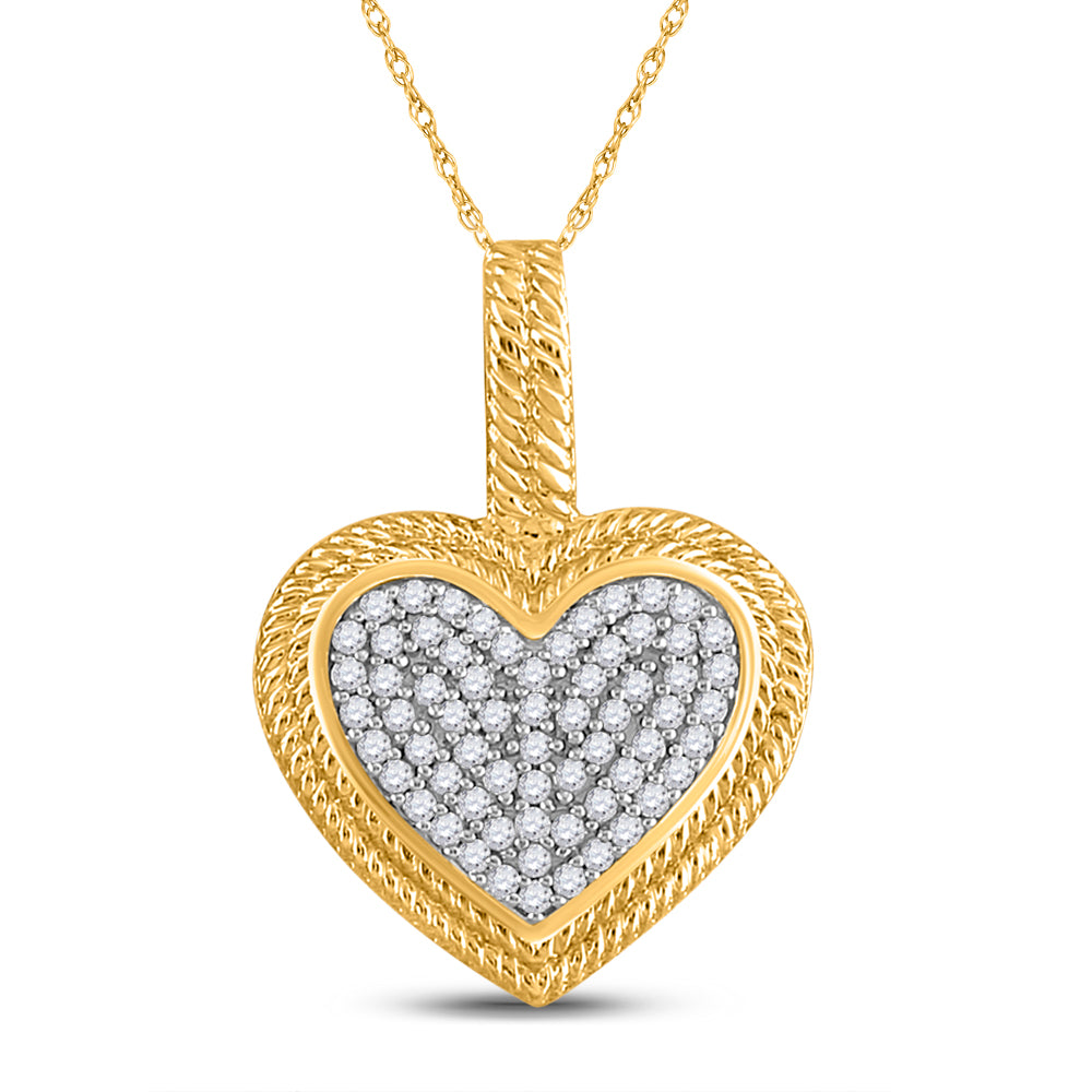 10kt Yellow Gold Womens Round Diamond Heart Milgrain Pendant 1/6 Cttw