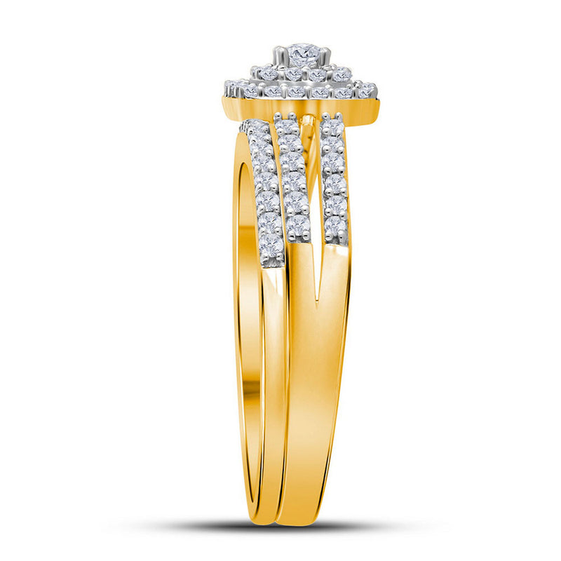 10kt Yellow Gold Round Diamond Split-shank Bridal Wedding Ring Band Set 1/2 Cttw