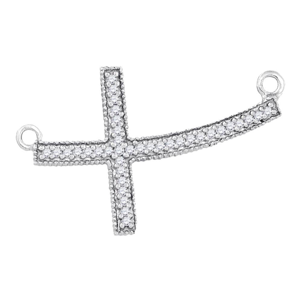 Sterling Silver Womens Round Diamond Curved Sideways Cross Pendant Necklace 1/6 Cttw