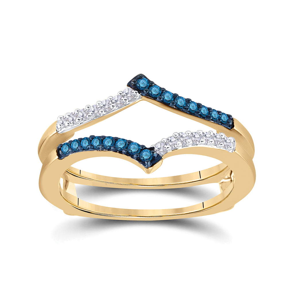 10kt Yellow Gold Womens Round Blue Color Enhanced Diamond Enhancer Wedding Band 1/5 Cttw