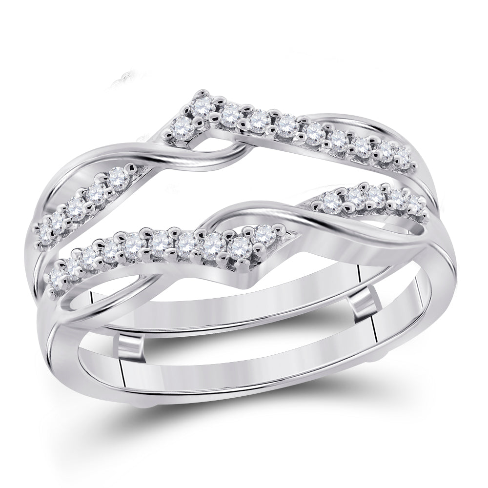 10kt White Gold Womens Round Diamond Solitaire Enhancer Wedding Band 1/4 Cttw