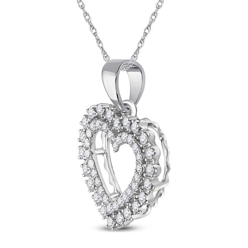 14kt White Gold Womens Round Diamond Outline Heart Pendant 3/8 Cttw