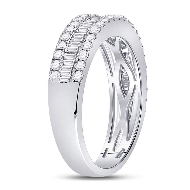 14kt White Gold Womens Baguette Diamond Fashion Anniversary Ring 1 Cttw