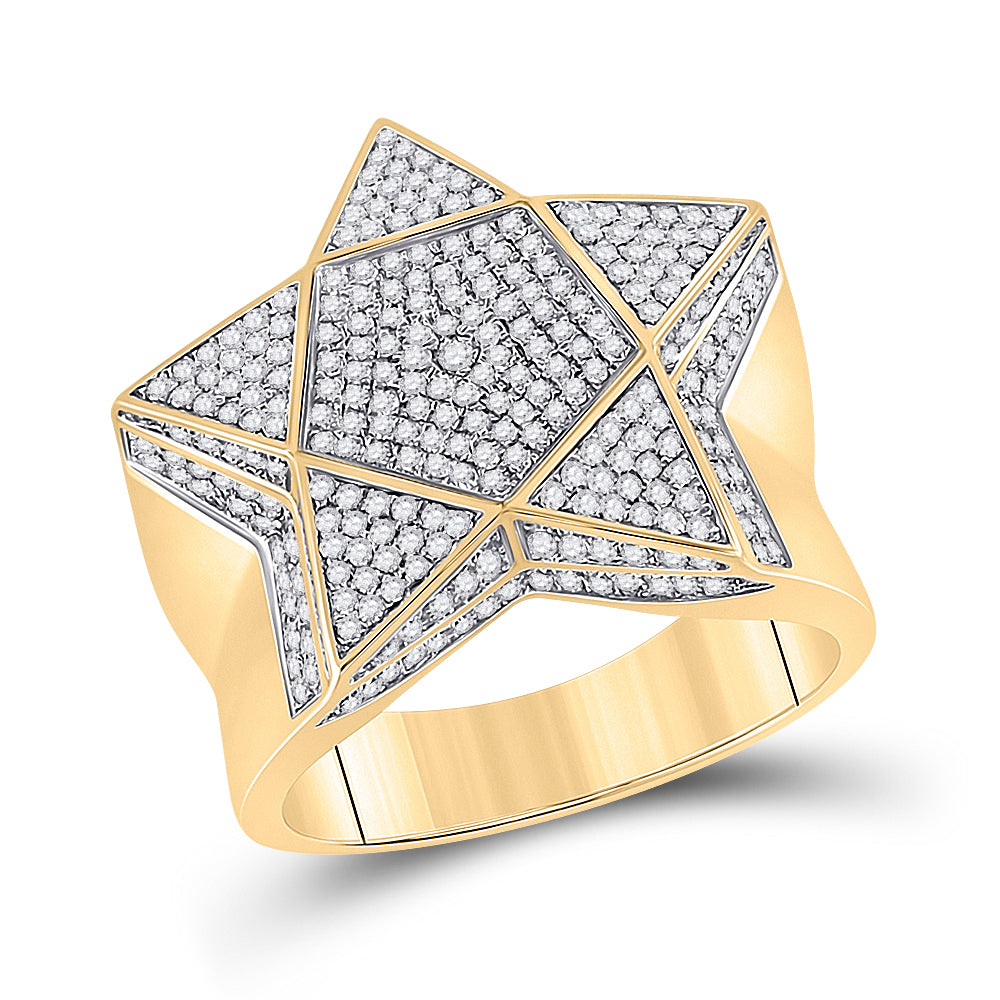 10kt Yellow Gold Mens Round Diamond Star Statement Ring 1 Cttw