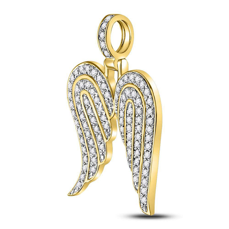 10kt Yellow Gold Mens Round Diamond Angel Wing Charm Pendant 5/8 Cttw