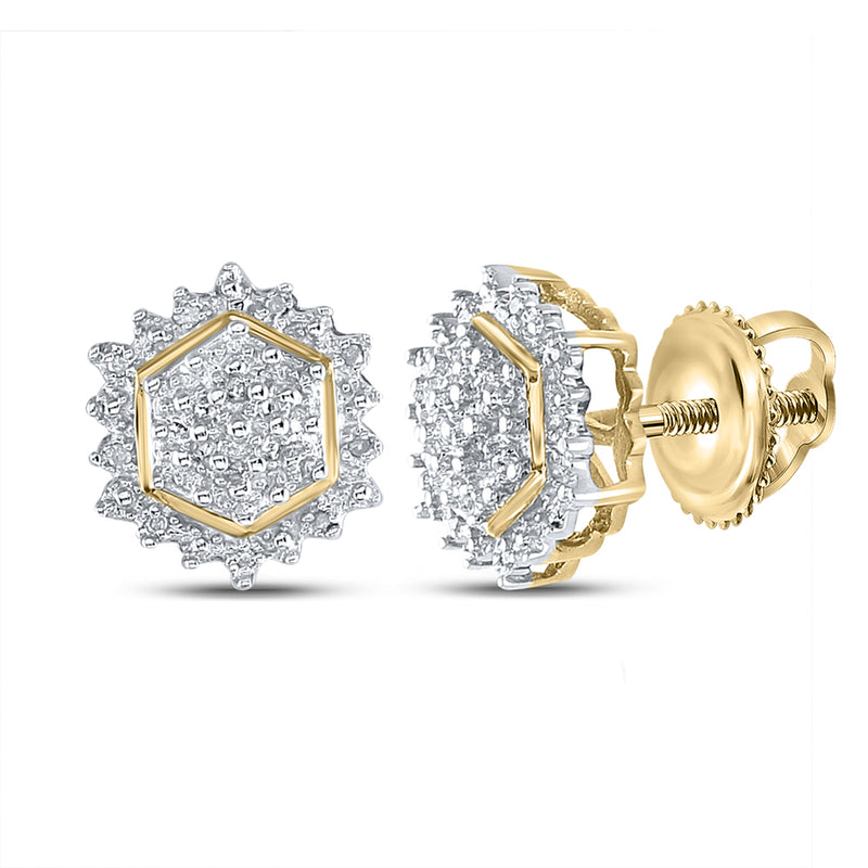 Yellow-tone Sterling Silver Womens Round Diamond Hexagon Earrings 1/10 Cttw