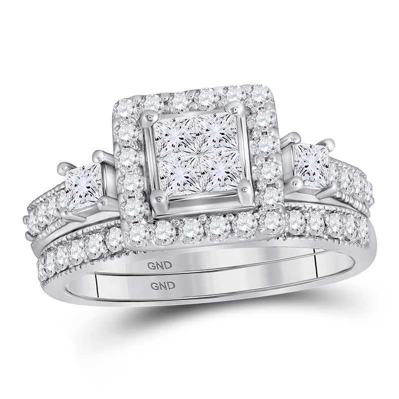 10kt White Gold Princess Diamond Bridal Wedding Ring Band Set 1 Cttw