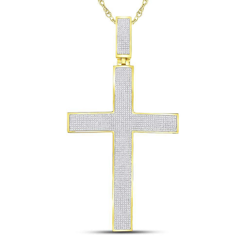 10kt Yellow Gold Mens Round Diamond Roman Cross Charm Pendant 2-1/5 Cttw