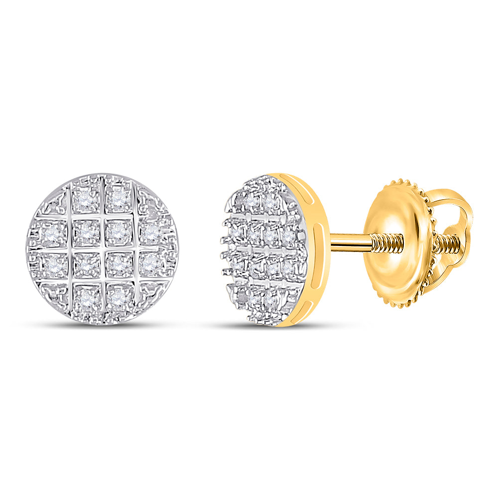 10kt Yellow Gold Mens Round Diamond Cluster Earrings 1/10 Cttw